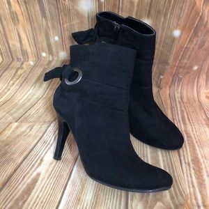 New Directions Black Luna Faux Suede Booties